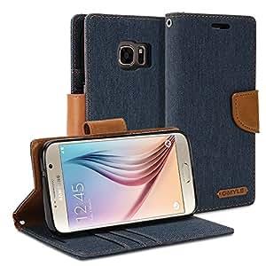 funda Galaxy S7 SM-G9300, GMYLE Clásico caso de cartera carcasa case para Galaxy S7 SM-G9300 - Azul Marino & Marrón