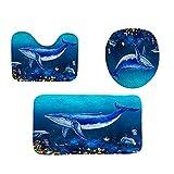 Molyveva Beach Seashells Starfish Sea Sand Bath Mat Holidays Summer Bathroom Carpet Rug Non-Slip 3 Piece Toilet Mat Set Starfish Floor