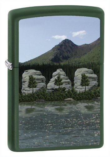 Zippo Pocket Lighter Green Matte Dad Mountains Lighter (Green, 3 1/2-Inch x 2 1/4-Inch)
