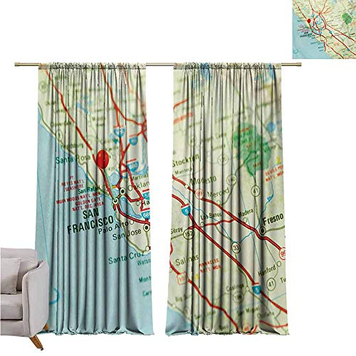 GUUVOR Map Heat Insulation Curtain Vintage Map of San Francisco Bay Area with Red Pin City Travel Location for Living Room or Bedroom W42 x L84 Inch Pale Blue Pale Green Red