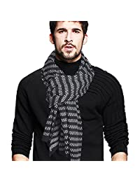 Men's Stripe Long Scarf Soft Warm Thick Knit Winter Scarves (Black)