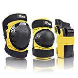 JBM international Adult / Child Knee Pads Elbow Pads Wrist Guards 3 In 1 Protective Gear Set, Yellow, Adults