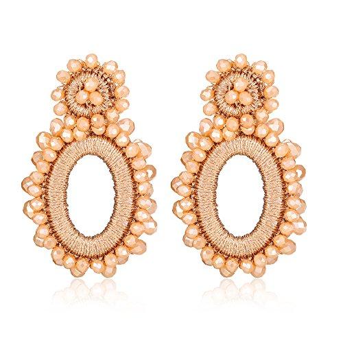 (Bonnie Bohemian Hoop Beads Clip-On Earrings Handmade Flower Crystal Drop Dangle Clip on earrings (Brown) )