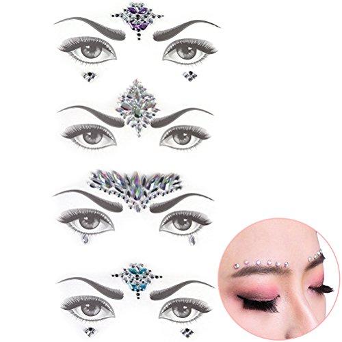 Glitter Tattoo Glam Rock Kit - CosCosX 4 Set Festival Face Jewels