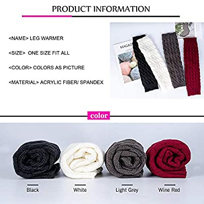 Leg Warmers for Women Girl, 4 Pairs Women's Fashion Knit Winter Long Boot Cuffs Socks Knitted Crochet Leg Sleeves Embellishment: Clothing