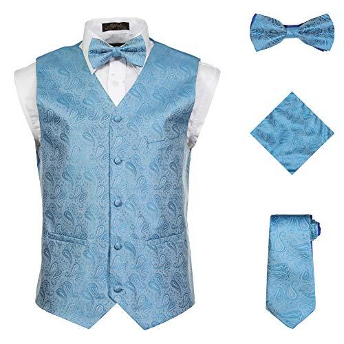 (Vittorino Men's 4 Piece Formal Paisley Vest Set with Tuxedo Vest Tie Hankerchief Bow Tie Turqouise Small)