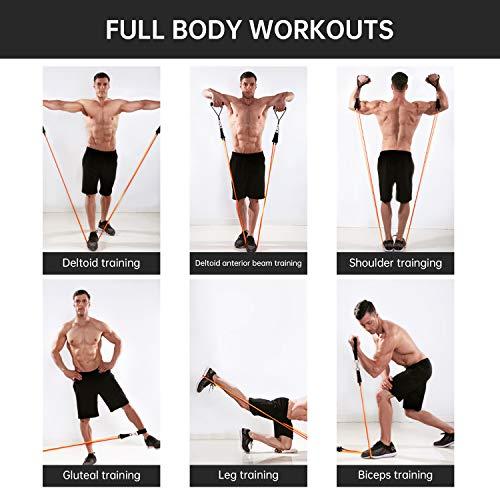 MENNYO Elastique Musculation 17PCS avec 5 Elastique Fitness 5 Bande Elastique de Tuyau, pour L'entraînement en Résistance, la Physiothérapie, Les Séances D'entraînement à Domicile