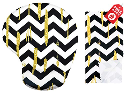 Gold Glitter Black & White Chevron Ergonomic Design Mouse Pad with Wrist Support. Gel Hand Rest. Matching Microfiber Cleaning Cloth for Glasses & Electronics. Mouse Pad for Laptop, PC Computer & Mac ()