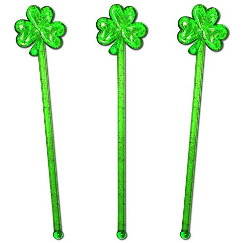 (Royer Puffy Shamrock Swizzle Sticks, Stir Sticks, Cocktail Stirrers for St. Patricks Day - Green With Gold Glitter, 6 Inch, Set of 24, Made in USA)
