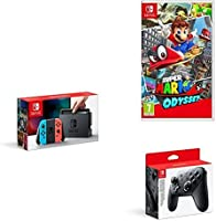 Nintendo Switch Neon, Super Mario Odyssey and Pro Controller
