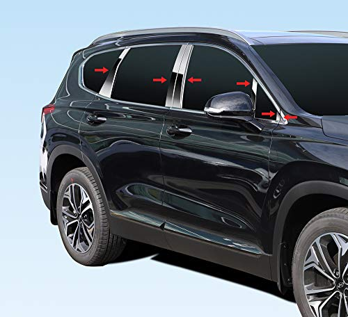 Tyger Auto Made in USA! Compatible with 2019-2020 Hyundai Santa Fe Chrome Stainless Steel Pillar Post Trim with Mirror Piece 12PCS