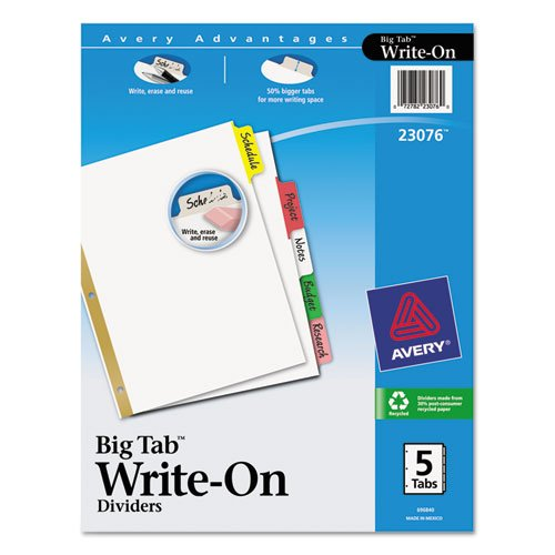 avery big tab write erase dividers 5 multicolor tabs 1 set import it all. Black Bedroom Furniture Sets. Home Design Ideas