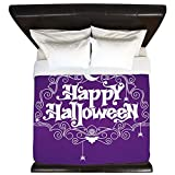 King Duvet Cover Happy Halloween Bats and Spiders