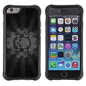 Hybrid Anti-Shock Defend Case for Apple iPhone 6 4.7 Inch / Cool Cog & Skull Sign