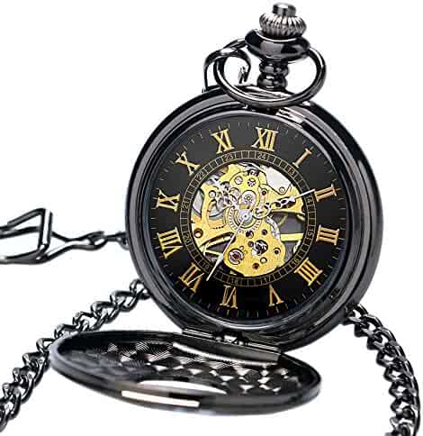 WIOR Retro Mechanical Pocket Watch Classic Mens Pocket Watch Roman Numerals Hand-wind Retro Pocket Watch with Fob Chain & Gift Box (Gold)