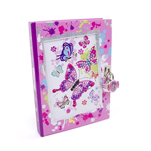 """Hot Focus Butterfly Secret Diary with Lock – 7"""" Journal"""