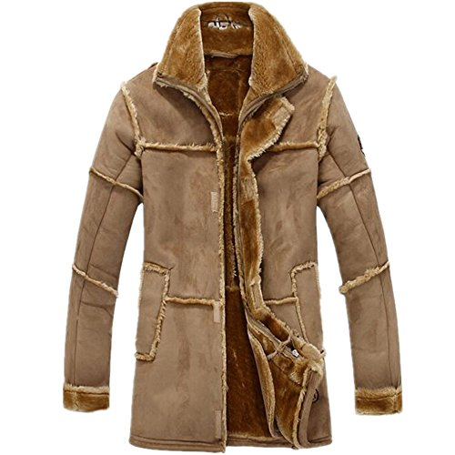 (Allonly Men's Vintage Sheepskin Jacket Fur Leather Jacket Cashmere Shearling Coat, Camel, US Large)