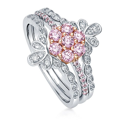 BERRICLE Rhodium Plated Sterling Silver Pink Cubic Zirconia CZ Flower Ring Set Size 6
