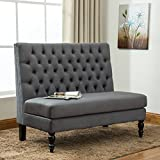 Tongli Modern Settee Bench Banquette loveseat Button Tufted Fabric Sofa Couch chair 2-Seater Gray