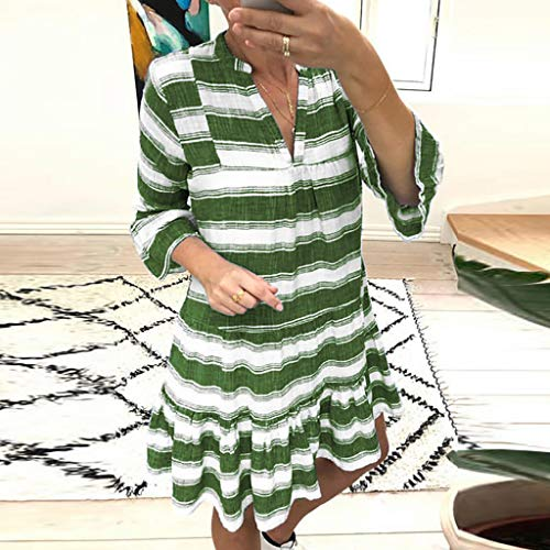 Shirt Capilene Green (【HebeTop】 Women Sexy Deep V-Neck Short Sleeve Stripe Print Mini A Line Dress Green)