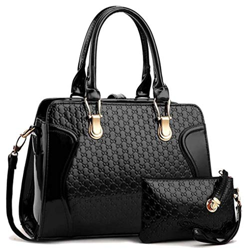 Ladies Black Patent Designer Handbag & Pocketbook With Wallet-Purses For Women Perfect Summer ()