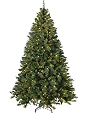 WeRChristmas Pre-Lit Victorian Pine Multi-Function Christmas Tree with 300 Warm White Candle LED Lights, Green, 5 ft/1.5 m