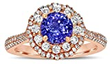14K ROSE GOLD HALO TANZNITE ENGAGEMENT RING (1 1/2 CT. TW.) WITH 0.50 CARAT ROUND DIAMOND AS SIDE STONE