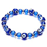 Womens Beads Bracelet with 8mm Blue Murano-style Glass Evil Eye Beads and Charms