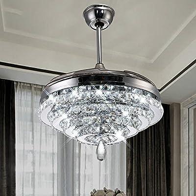 RS Lighting European Crystal Circles Ceiling Fan Light Living Room Restaurant Fashion Simple Brand Ceiling Fan Chandelier (42-Inch)