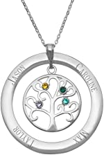 Customized 4 Simulated Birthstone Family Tree Mother's Necklace - Gift for