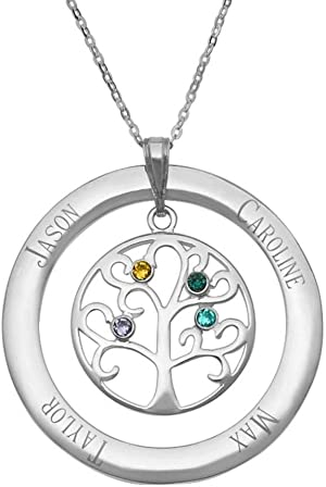 Customized 4 Simulated Birthstone Family Tree Mother's Necklace - Gift for Mom (16
