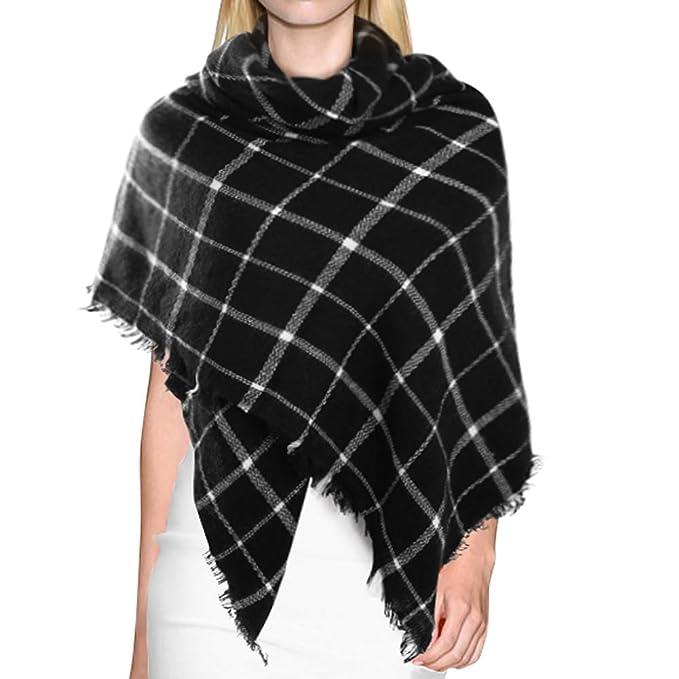 74b105f1ba487 Dora Bridal Lady Women Blanket Oversized Tartan Scarf Wrap Shawl Plaid Cozy  Checked Pashmina (One