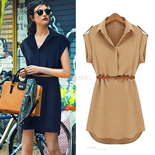 - Ltfei Women's Cap Sleeve Stretch Chiffon Casual Shirt Mini Dress With Belt SV001455 Vestidos Blue S