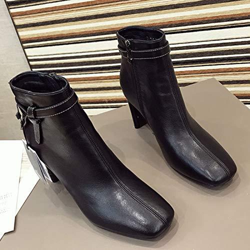HBDLH Damenschuhe Im Winter Winter Winter Martin Stiefel 8Cm Heel 100 Sätze Retro Chelsea - Stiefel f3ec6b
