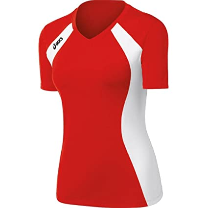 9d0d94ab1cf Amazon.com : Asics Women's Aggressor Volleyball Jersey (Red/White ...