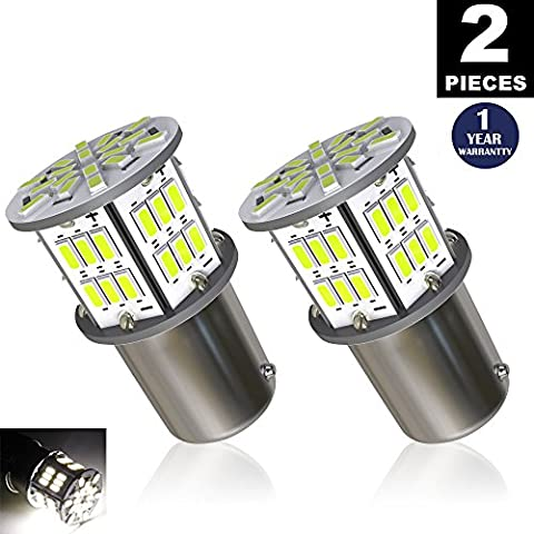 LUYED 2 x 650 Lumens 12v-24v 1156 1141 1003 3014 54-EX Chipsets Led Bulb Used For Back Up Reverse Lights,Brake Lights,Tail Lights,Rv light,Xenon (1156 Led Bulb Replacement)