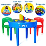 Kids Activity Table, 4 in1 Water Table, Play Table, Building Blocks Table and Storage for Toddler Kids Boys Grils, Includes 1 Table, 2 Chairs and 25 Jumbo Bricks