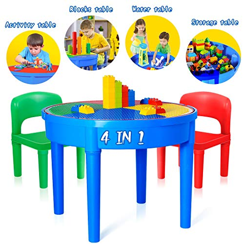 Kids Activity Table, 4 in1 Water Table, Play Table, Building Blocks Table and Storage for Toddler Kids Boys Grils, Includes 1 Table, 2 Chairs and 25 Jumbo ()
