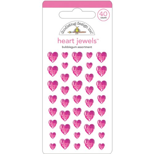 DOODLEBUG Heart Adhesive Jewels, 6/8/10mm, Bubble Gum, 40-Pack
