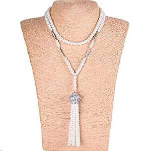 1920s Jewelry Styles History YallFF Faux Pearl Necklace for Women Great Gatsby Accessories ART Deco 1920s Flapper Beads Tassel Long Necklace $13.99 AT vintagedancer.com