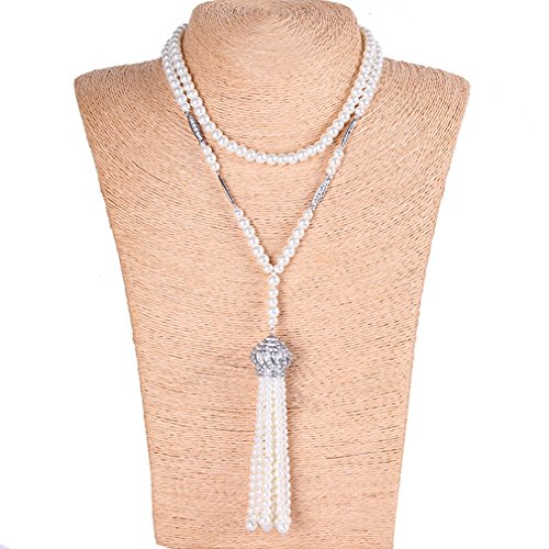 [YallFF Faux Pearl Necklace for Women Great Gatsby Accessories ART Deco 1920's Flapper Beads Tassel Long] (Flappers 1920)