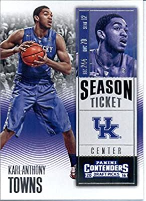 2016-17 Panini Contenders Draft Picks #53 Karl-Anthony Towns Kentucky Wildcats Basketball Card in Protective Screwdown Display Case