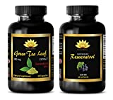 Product review for anti-aging supplement - GREEN TEA EXTRACT – RESVERATROL - resveratrol heart health - COMBO (2 Bottles)
