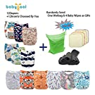 Babygoal Baby Adjustable Reuseable Pocket Cloth Diaper Nappy 12pcs + 12pcs 5-layer Charcoal Bamboo Reusable Inserts 12FN51-3