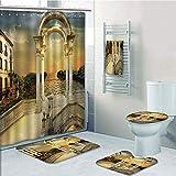 Bathroom 5 Piece Set shower curtain 3d print,Fantasy,Surreal Bridge Gateway with Ornaments Enchanted Woods Fairytale Land,White Light Yellow Green,Bath Mat,Bathroom Carpet Rug,Non-Slip,Bath Towls