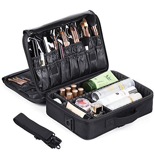 HAITRAL Portable Makeup Bag 3 Layer Professional Makeup Case 13.6'' Makeup Train Case Makeup Artist Organizer Bag with Adjustable Dividers