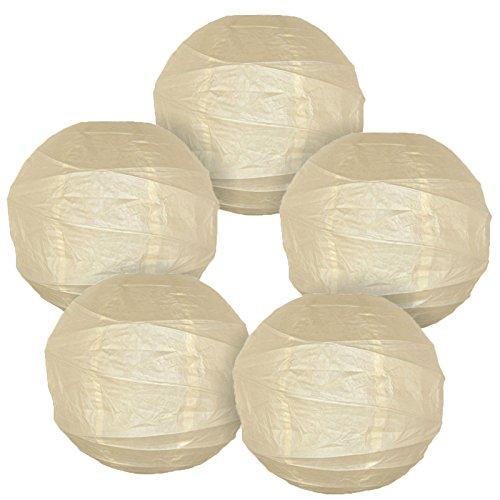 Just Artifacts - Criss Cross Paper Lanterns (Set of 5, 8inch, Ivory) - Click For More Colors & Sizes! -