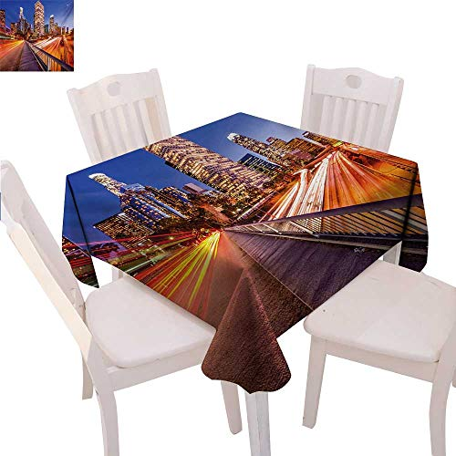 "BlountDecor Night Washable Tablecloth USA Downtown City Skyline Over The Highway Los Angeles California Travel Destination Waterproof Tablecloths 60""x60"" Multicolor"