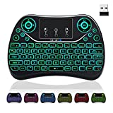 [7-Color Backlit] Mini Keyboard Touchpad Mouse Media Keys,2.4Ghz Wireless USB Handheld Media Keyboard Remote Keypad for Kodi Box,Android TV Box,Windows 10,PS4,PS3,PC,HTPC,Xbox ONE,Raspberry Pi 3 B+