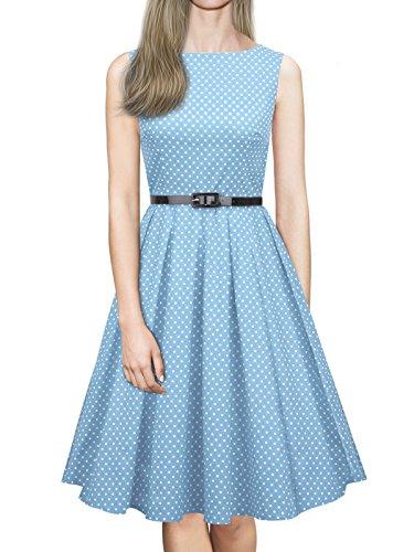 Altalena Le 1950 Ilover Rockabilly Vestito Stile V057 Pois Donne Per A Blu light xqRwRY8B